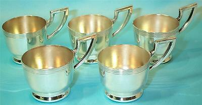 Silver Plate Toddy Demitasse Cup Holders Art Deco Retro Moderne