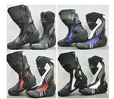 LV15 Motorcycle Motorbike Black Red Blue Leather Sports Race Boots Top Seller
