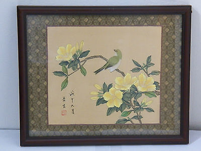 Vintage Asian Signed Painted Floral Bird on Fabric Framed Art Picture