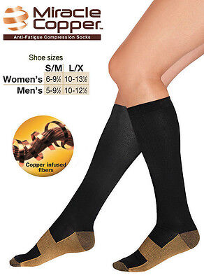 Flight Travel Miracle Copper Compression Socks Knee High Varicose Veins Stocking