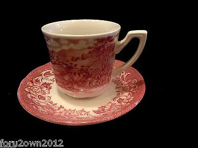 Royal Staffordshire Stratford Stage RED J&G Meakin Cup & Saucer Eng Ironstone