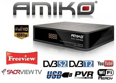 Mini Combo DVB-S2 & DVB-T2 Receiver Freesat, Freeview, Saorview, Ethernet, USB