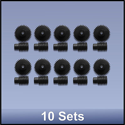 34:1  PRECISION MOULDED PUSH-FIT WORM GEAR SET - 10 pieces