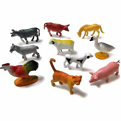 10 Mini Plastic Farm Animal Toys