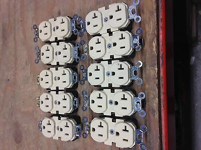Leviton 5-20R Duplex Receptacle (lot of 10) 20A 125V Spec Grade Ivory