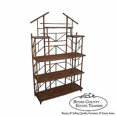 Mid Century Pagoda Top Bamboo Rattan Etagere Bookcase