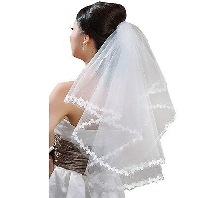 Wedding Dress Tulle Bridal Gown Net Flowers Edge Wedding Veil Women Multi Layer