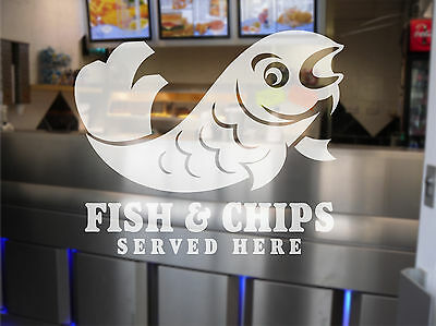 Fish and Chip Shop Chippy  Window Sign Decal Graphic - Etched Vinyl