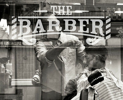 Mens Barber Barbershop Hair  Window Sign Decal Graphic - Frosted Vinyl