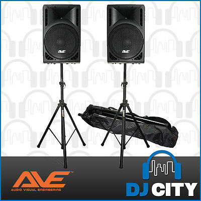 AVE Revo15 DSP Active Powered Speaker Package 1600W DJ PA System w/ Stands - New