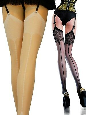 Fiore Edvige Back Seam Stockings with Patterned Top Stockings 20 Denier S M L