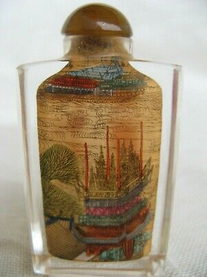 CHINA 20.th CENTURY SNUFF BOTTLE REVERSE PAINTED RIVER SCENE