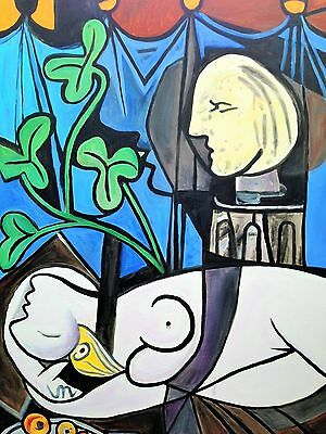 """DAVID ALDUS ORIGINAL """"Nude, Green Leaves and Bust"""" Picasso reproduction PAINTING"""