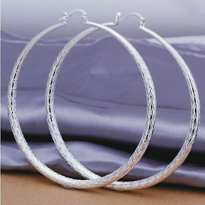 Women/Girls 925 Sterling Silver Plated Hoop Earrings Large Scale Earrings