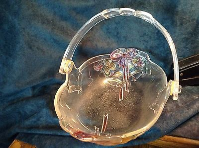 Mikasa Holiday Bells Collection Glass Handled Basket & Colorful Bowl, unmarked