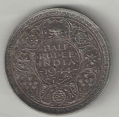 INDIA, BRITISH, 1944 (b) DOT,  1/2 RUPEE,  SILVER,  KM#552,  CHOICE EXTRA FINE