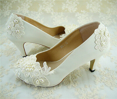 Handmade White Floral Beaded Lace Bridal Shoes Flat Pearl Wedding Shoe UK3-8
