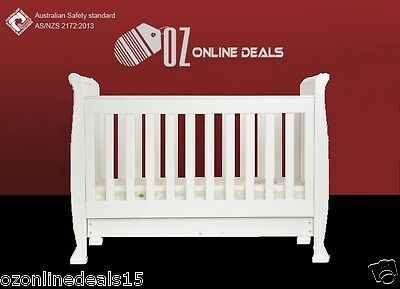 Wooden Sleigh Baby Cot Infant Toddler Bed Baby Bed Sofa Storage Drawer 3 in 1`