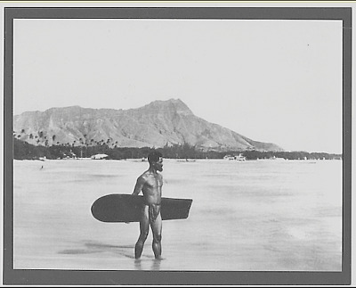 HAWAIIAN SURFER, WAIKIKI BEACH OAHU 1890's? HAND PRINTED B&W PHOTO ON 8X10 MAT