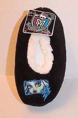 Monster High Black Fuzzy Babba Fleece Slipper Socks Girl's Shoe Size 8-13 S/M