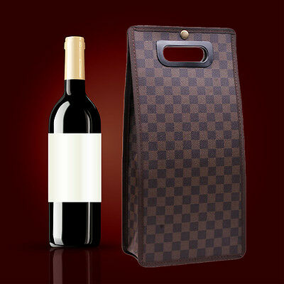 Brown Grid Double Bottle Wine Bag Leather Carrier Tote Christmas Party Decor