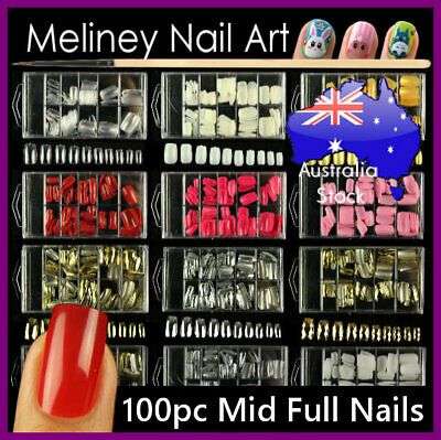 100pc Full Cover Nail Tips Metallic Gold Silver Mid Length False Art