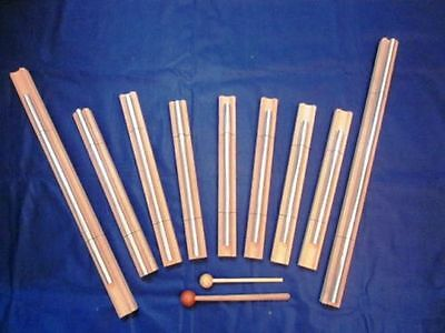 "9 Pc Sacred Solfeggio Energy Bar Chimes 22"" louder than tuning forks for Healing"