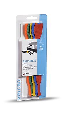 VELCRO® Brand 5 Pack Pre Formed Reusable Cable Ties 25mm x 200mm Multi Colour