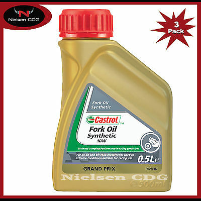 Castrol Fully Synthetic Fork Oil 10W Suspension Fluid - 3x500ml = 1.5 Litre