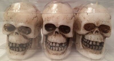 "SKULLS 6 - 3"" Halloween Party Candles Fragrance Free"