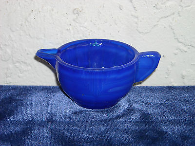 Akro Agate Large Stacked Disc and Interior Panel Creamer  Opaque Blue