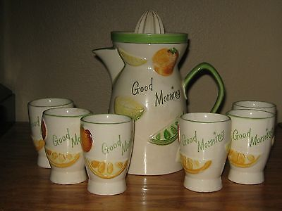 VINTAGE 8 PC NAPCO CERAMIC MORNING JUICE/JUICER TABLE SETTING ORANGE, LEMON, LIM