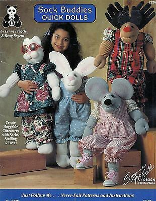 Sock Buddies Quick Dolls Sewing Booklet Bear,bunny,cat,mouse,cow,sheep,reindeer