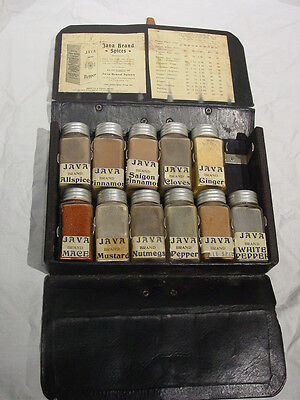 Vtg Java Brand Spice Set Leather Case Glass Jar Tin Lids Salesman Sample Antique