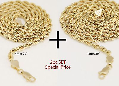 """Men's Women's 14K Yellow Gold Plated 4 mm Rope Chain Necklace 24""""+30"""" 2pc Set"""