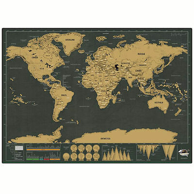 Deluxe Scratch Map - TRAVEL EDITION Scratch Off Layer Personalised Map Poster