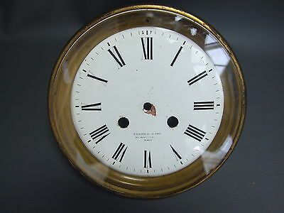 Antique or vintage large French clock dial bezel & glass for repair or spares
