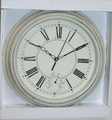 Wall Clock - CREAM Case Clock with Thermometer (30cm Diameter)