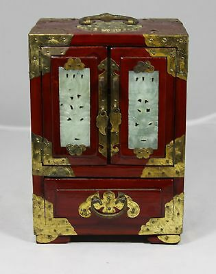 """Hand Made Rosewood """"Chinese Jewelry Chest Inlaid with Jade Medallions"""" with Lock"""