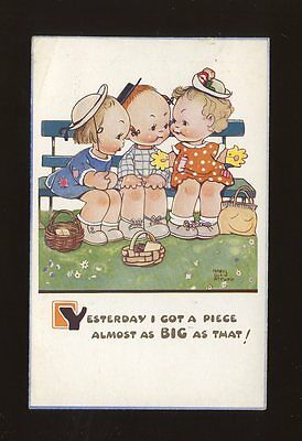 Artist MABEL LUCIE ATTWELL #1413 Children chatting used 1950 PPC