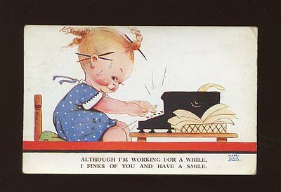 Artist MABEL LUCIE ATTWELL #1762 Used 1938 Children Birthday typewriter PPC