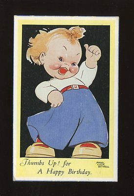 Artist MABEL LUCIE ATTWELL Children Thumbs Up Birthday used 1948 PPC Valentine