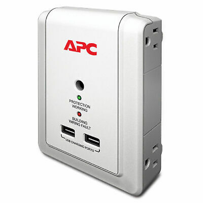 APC - Essential SurgeArrest 4 Outlet Wall Mount w/USB,120V 1080 Joules - P4WUSB