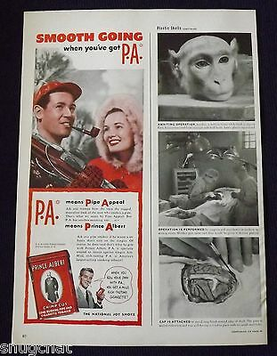 1948 Vintage Print Ad Prince Albert Pipe and Cigarette Tobacco Skiing Couple