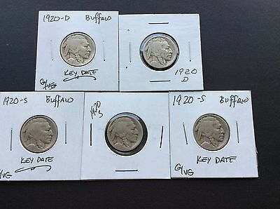 2)1920-D & 3) 1920-S Buffalo Nickels ---- Overlooked Tough Mintmarked Dates !!