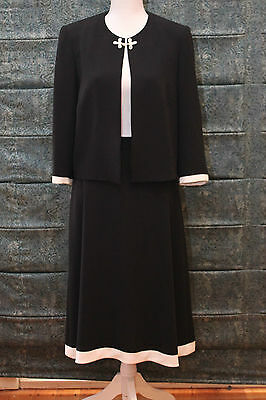 Vintage 1990's Myer Sutherland Suit & Skirt, Black with White trim Size 12 EC
