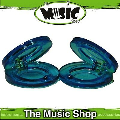 New Pair of CPK Percussion Transparent Blue Plastic Finger Castanets - ED225BL