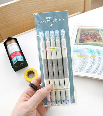 Fine Thick Dual Nibs  Highlighter _ Iconic 2 Way Pastel Pen_Set of 5 Color -DSKC