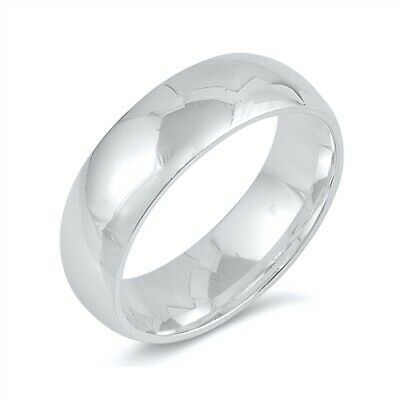 .925 Sterling SIlver 6MM LADIES MEN'S WEDDING BAND DESIGN SILVER RING SIZES 4-15