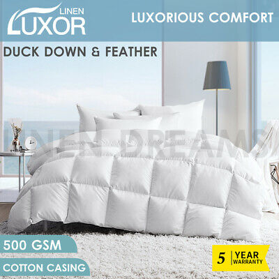 Duck Down Feather Winter All Season Quilt Duvet Blanket Cotton Cover - All Size